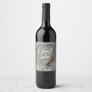 Rustic Stone Garden Wedding Heart Wine Label