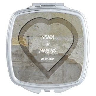 Rustic Stone Wall Heart Wedding Date Mirrors For Makeup