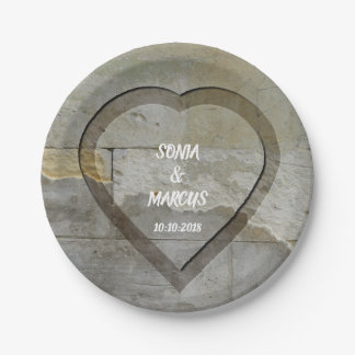Rustic Stone Wall Heart Wedding Date Paper Plate