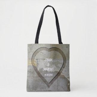 Rustic Stone Wall Heart Wedding Date Tote Bag