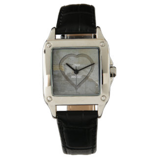 Rustic Stone Wall heart  wedding keepsake Watch