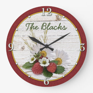 Rustic Strawberry Daisy Floral Personalized Large Clock