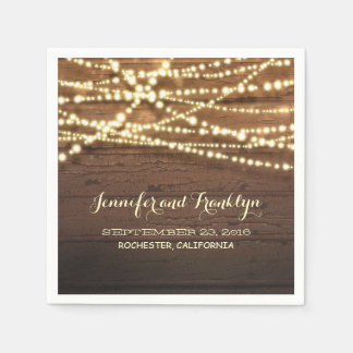 Rustic String Lights and Barn Wood Disposable Napkins