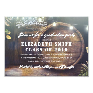 Rustic String Lights and Winery Barrels Graduation Card