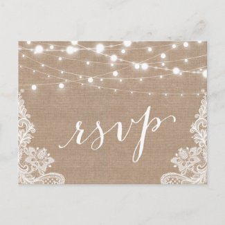 Rustic String Lights Burlap Lace Wedding RSVP Invitation Postcard