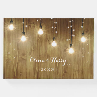 Rustic String Lights Country Wedding Guest Book