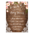 Rustic String Lights Lace Floral Baby Shower Card