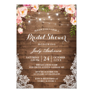 317072635634 Rustic String Lights Lace Floral Bridal Shower Invitation