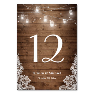 Rustic String Lights Lace Wedding Table Number Table Cards