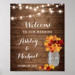 Rustic String Lights Mason Jar Fall Wedding Sign Poster