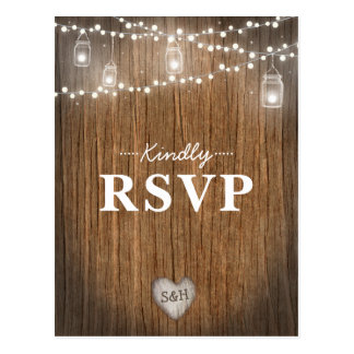 Rustic String Lights Mason Jar Wood Barn RSVP Postcard