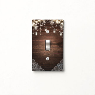 Rustic String Lights Mason Jars Lace Country Glam Light Switch Cover