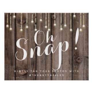 Rustic string lights oh snap wedding sign hashtag