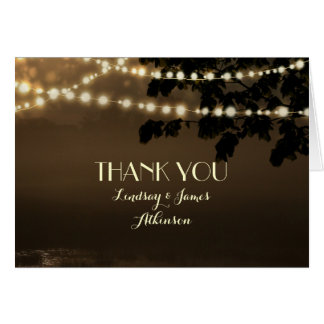 Rustic String Lights Outdoor Wedding Thank You Card