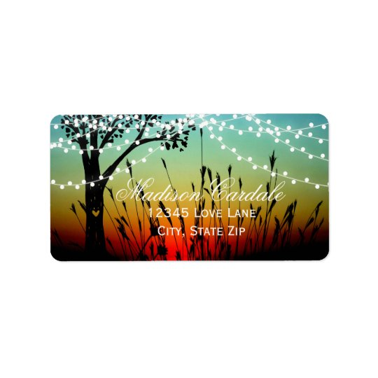 Rustic String Lights Sunset Wedding Address Labels