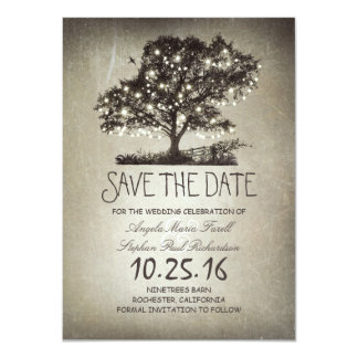 "Rustic string lights tree save the date cards 4.5"" x 6.25"" invitation card"