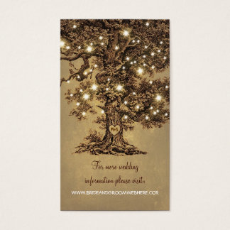 Rustic String Lights Tree Wedding Business Card