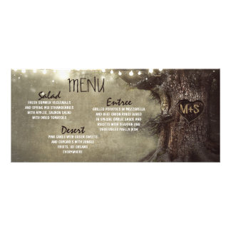 Rustic string lights tree wedding menu cards full colour rack card