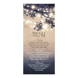 Rustic string lights wedding menu cards full colour rack card