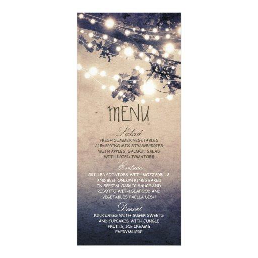 Rustic string lights wedding menu cards personalized rack card