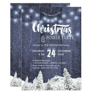 Rustic string lights white blue Christmas party Card