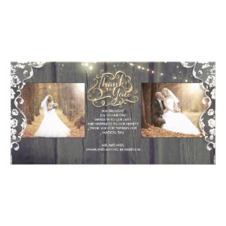 Rustic String Lights Wood Lace Wedding Thank You Card