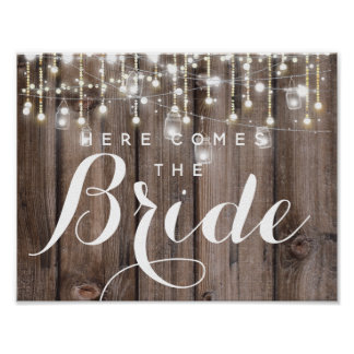 Rustic String of lights here comes the bride Poster