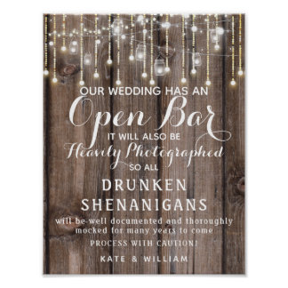 Rustic String of lights Open Bar wedding sign