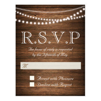 Rustic String of Lights RSVP Postcard