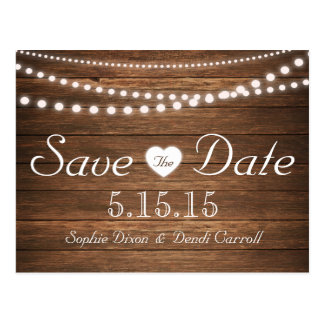 Rustic String of Lights Save the Date Postcard