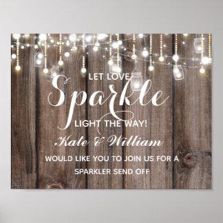 Rustic  String of lights sparkler send off wedding Poster