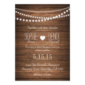 "Rustic String of Lights Wedding Invitation 5"" X 7"" Invitation Card"