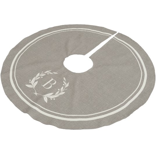 Rustic Stripes and Wreath Monogram Tree Skirt Brushed Polyester Tree Skirt