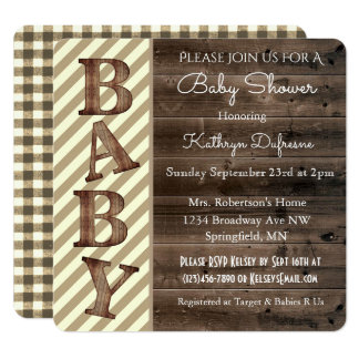Rustic Stripes & Gingham Baby Shower Invitation