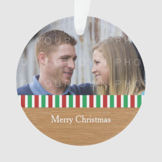 Rustic Stripes Holiday Photo Acrylic Ornament
