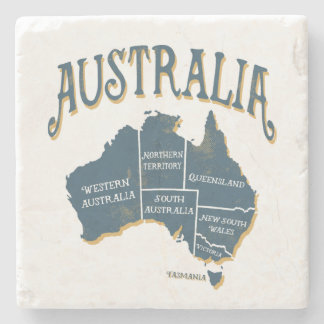 Rustic Style Australia States Map Stone Coaster