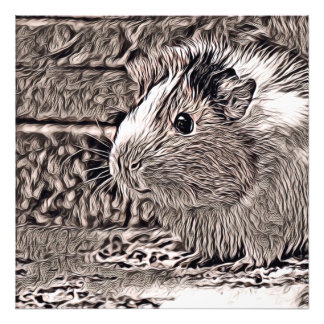 rustic style -guinea pig photo print
