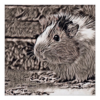 rustic style -guinea pig poster