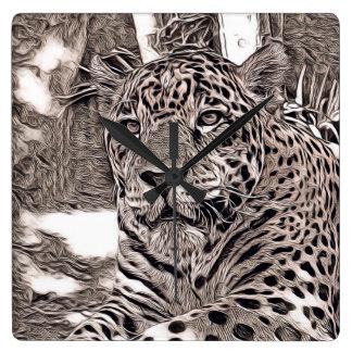 rustic style - jaguar square wall clock