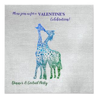 Rustic Style Valentine Invitation with Giraffes