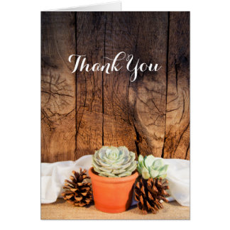 Rustic Succulent and Barn Wood Wedding Thank You Card