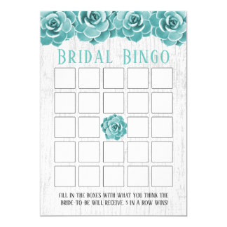 Rustic Succulent Floral Bridal Shower Bingo Card