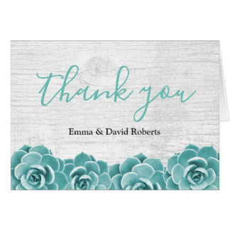 Rustic Succulent Floral Elegant Wedding Thank You Card