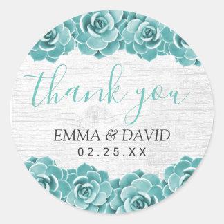 Rustic Succulent Floral Elegant Wedding Thank You Classic Round Sticker