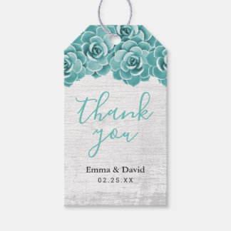 Rustic Succulent Floral Elegant Wedding Thank You Gift Tags