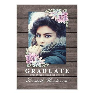 Rustic Succulent Photo 2019 Graduation Party Card