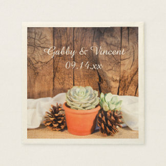 Rustic Succulents and Barn Wood Wedding Disposable Napkins