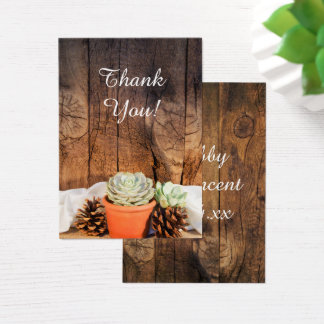 Rustic Succulents and Barn Wood Wedding Favor Tag