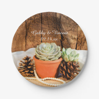 Rustic Succulents and Barn Wood Wedding Paper Plate
