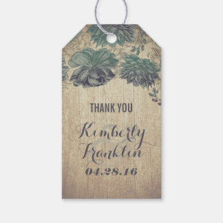 Rustic Succulents Wooden Wedding Gift Tags